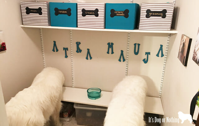 After falling in love with several DIY dog room projects on Pinterest, I decided to test my crafting skills by creating a giant breed-friendly dog nook for our two Great Pyrenees.
