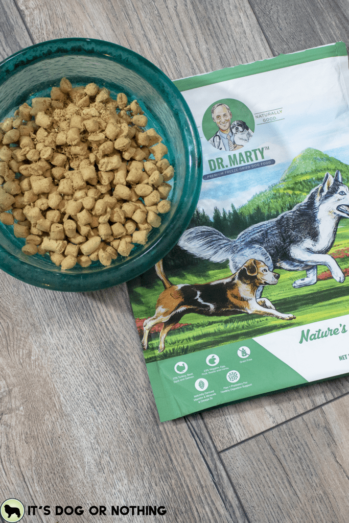 Great Pyrenees try Dr. Marty's freeze-dried raw dog food, Nature's Blend.